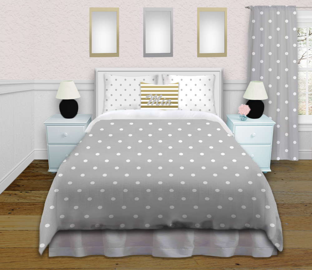 Tween Girls Gray Polka Dot Bedding Set Comes In King