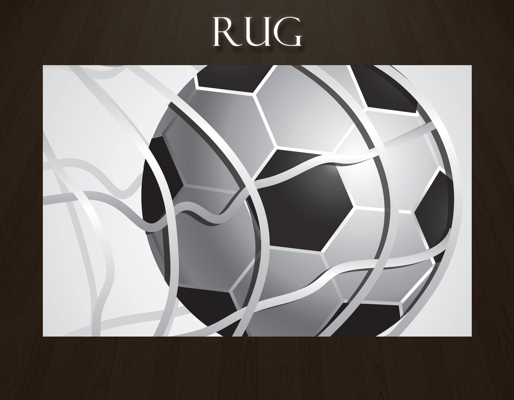 Sports Rug For Kids Room In Black And White Soccer Ball Theme 13