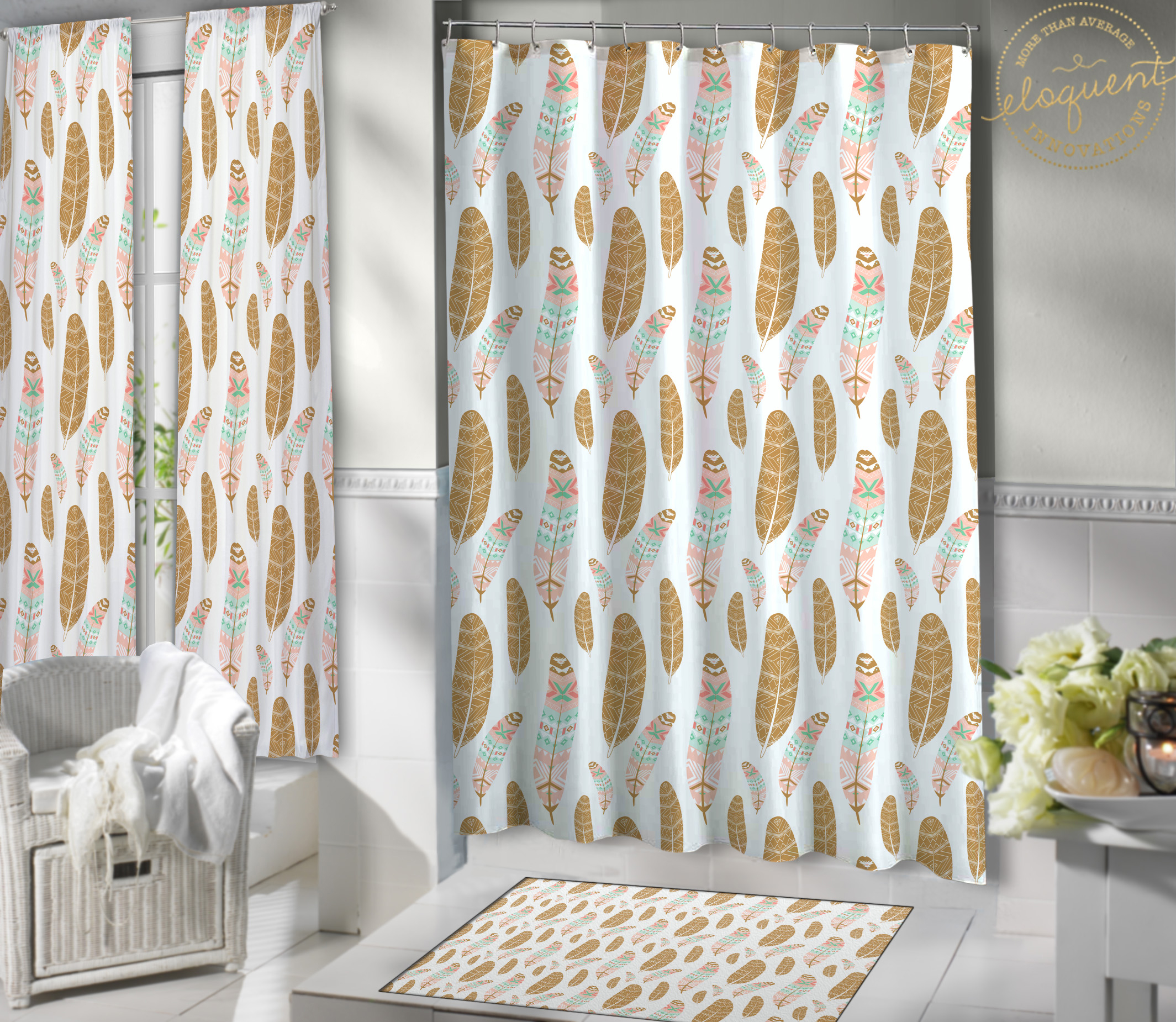 Bohemian Shower Curtain Feather Print Boho Shower