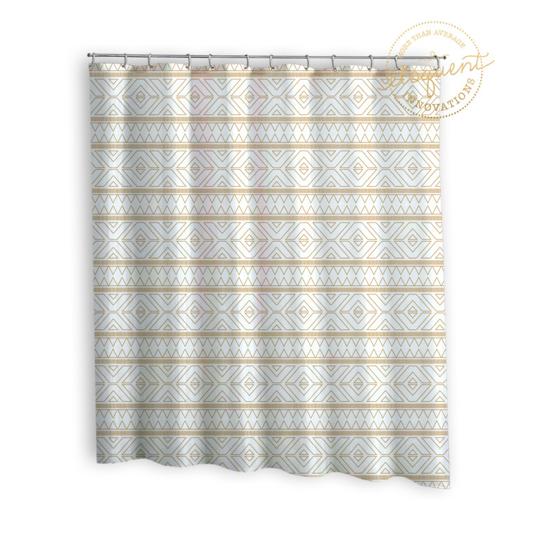 Gold Fabric Shower Curtain Tribal Print Gold Shower