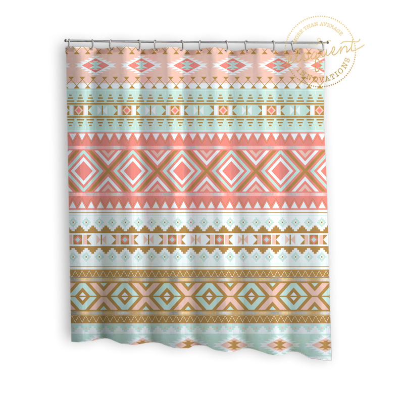 Coral Shower Curtain Mint Gold Tribal Pattern 287