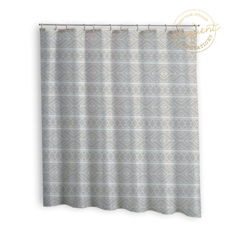 Grey Fabric Shower Curtain - Tribal Look - Grey Shower Curtain ...