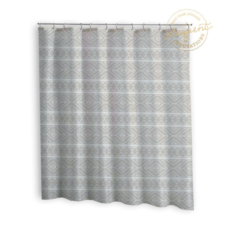 Tribal Grey Fabric Curtain