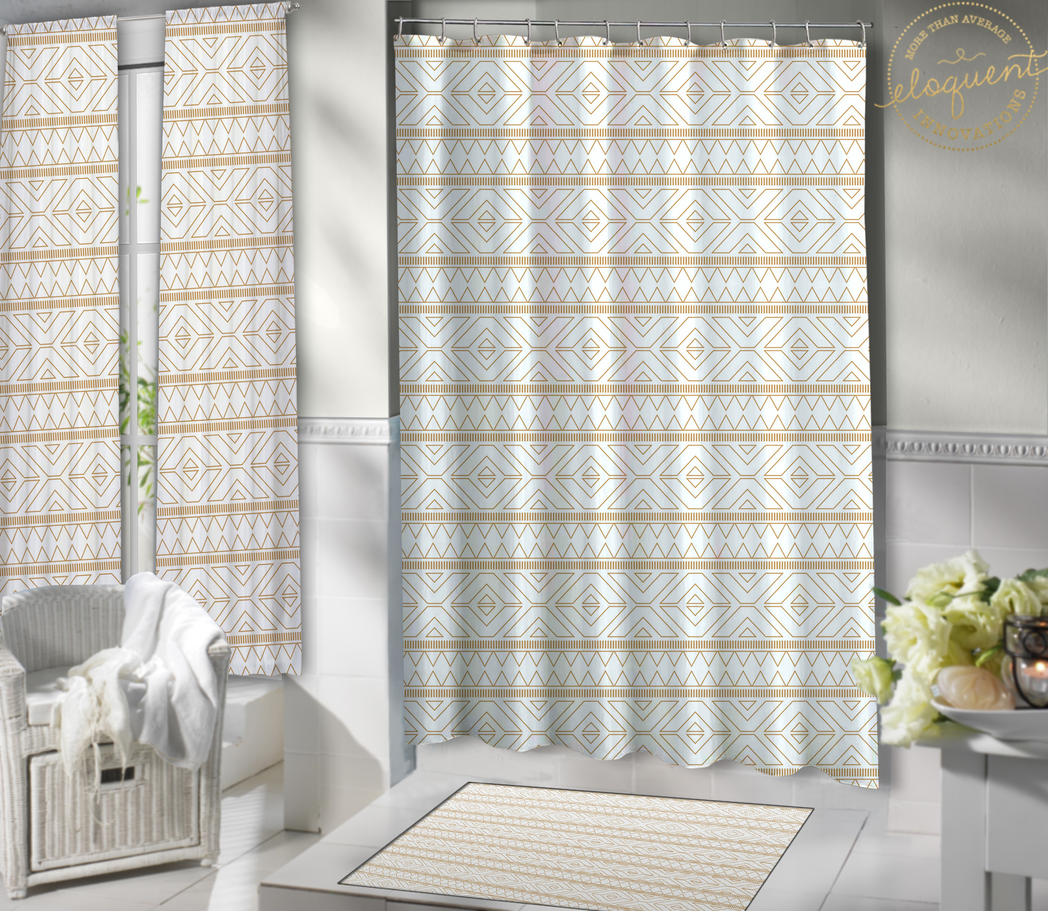 Gold Fabric Shower Curtain - Tribal Print - Gold Shower Curtain ...