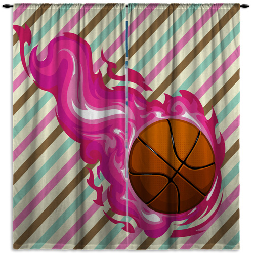 #150 Girls Basketball Window Curtains