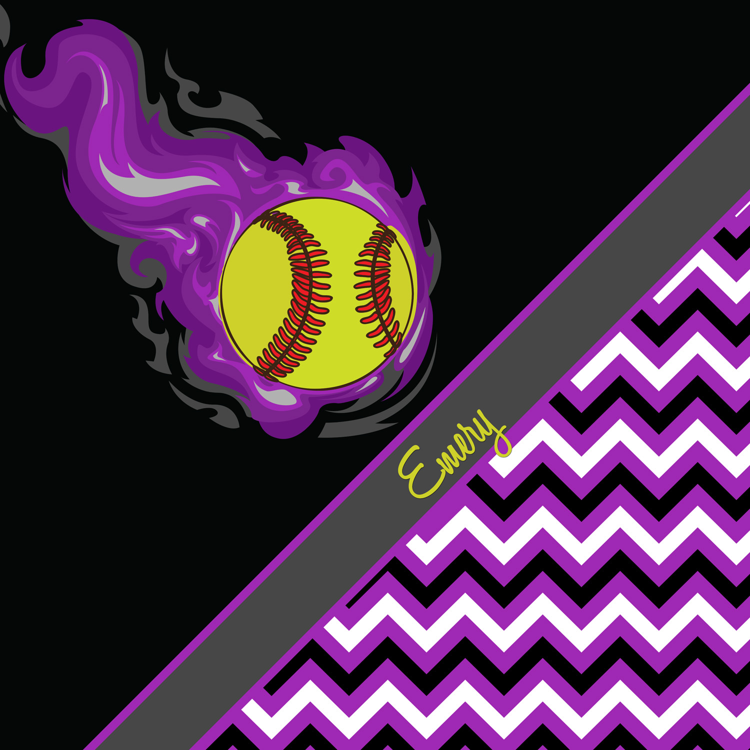 Girls Softball Bedding Purple Chevron Softball Bedding