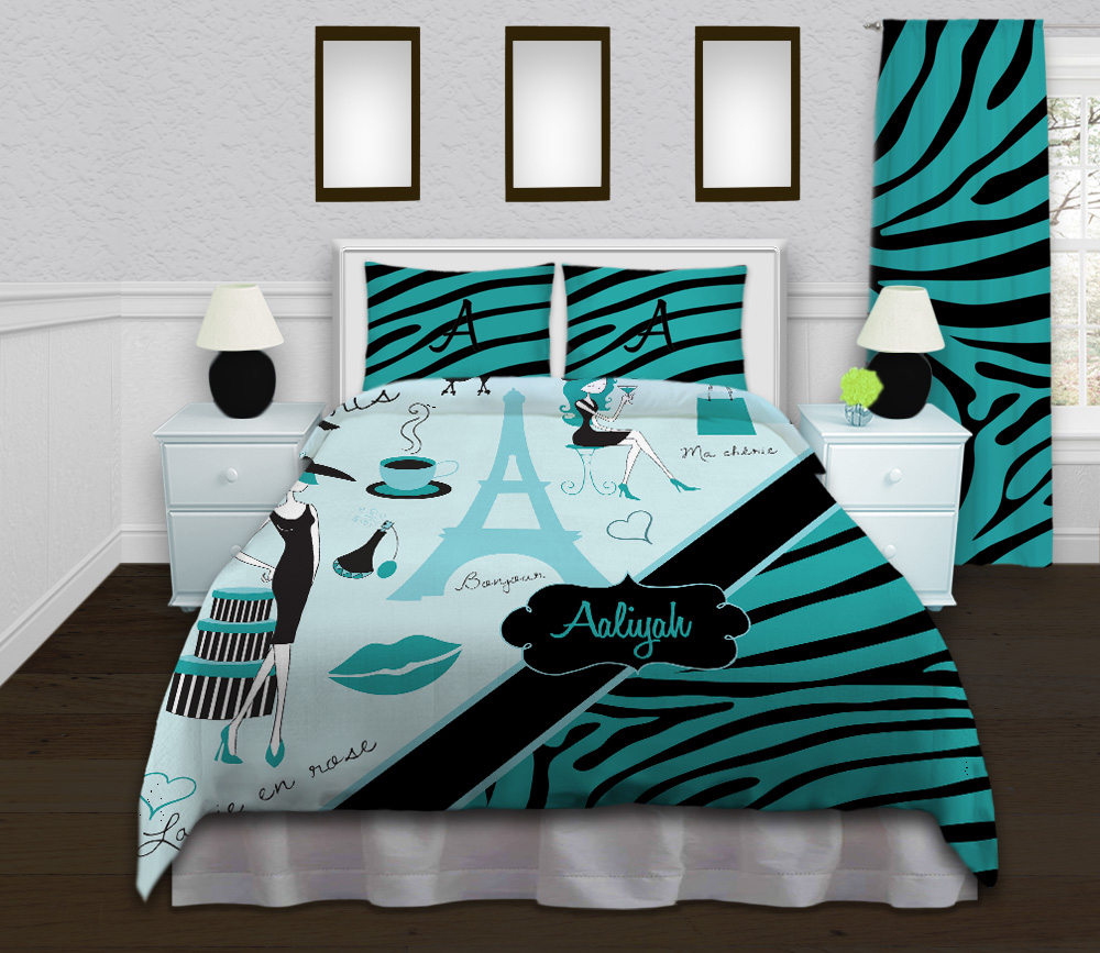Paris Themed Bedding Teal Amp Black Zebra Print