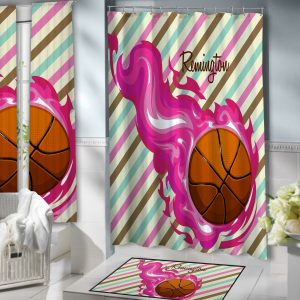#150 Girls Basketball Shower Curtain Bathroom