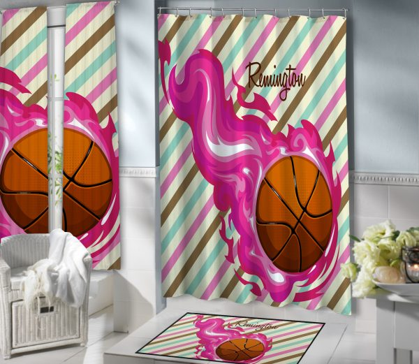 #150 Girls Basketball Shower Curtain Bathroom