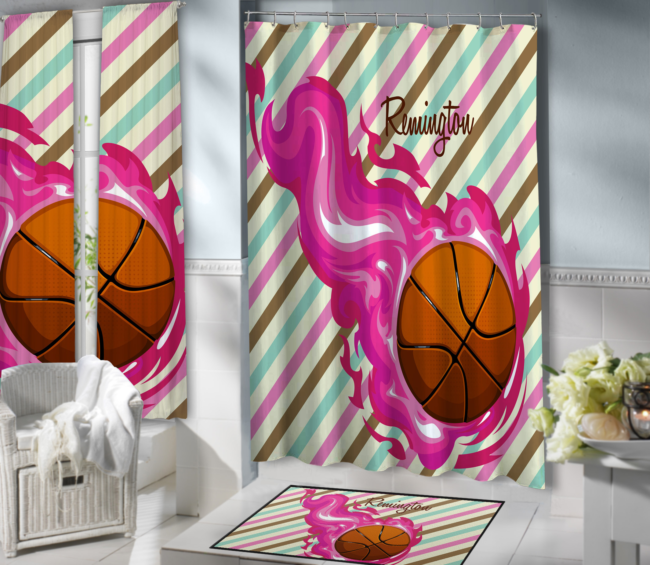 150 Girls Basketball Shower Curtain Bathroom