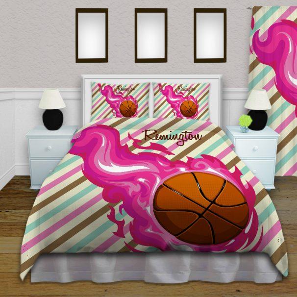#150_BasketBall_Bedroom-Girls Basketball Bedding Set