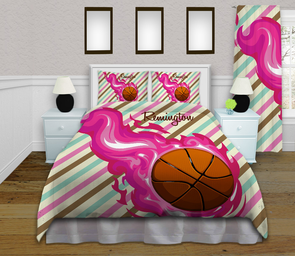 #150_BasketBall_Bedroom-Girls Basketball Bedding Set