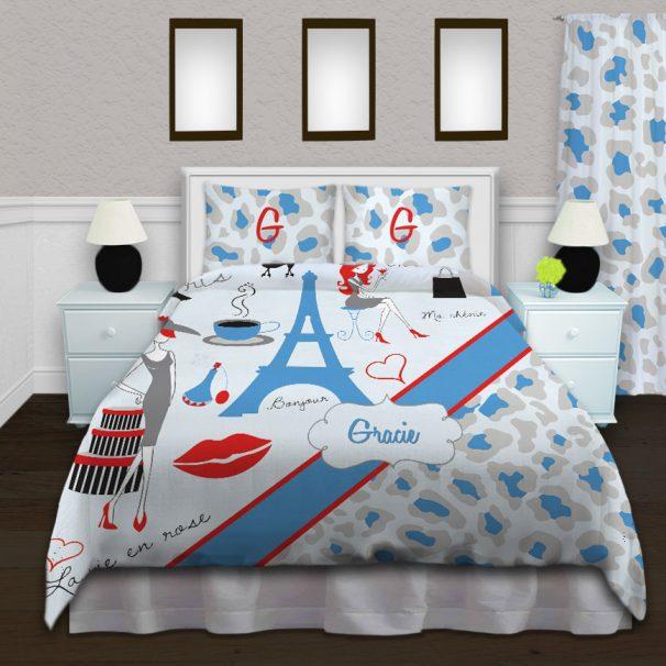 #156 Paris Blue and Gray Bedding
