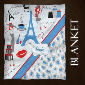 #156 Paris Blue Throw Blanket