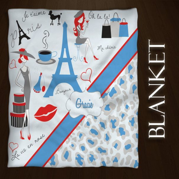 #156 Paris Blue Throw Blanket