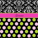 #157 Pink and Black throw blanket with Polka Dots