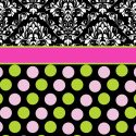 #157 Pink and Black Polka Dots Window Curtain Panels