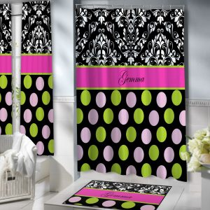 #157 pink and black shower curtain with polka dots