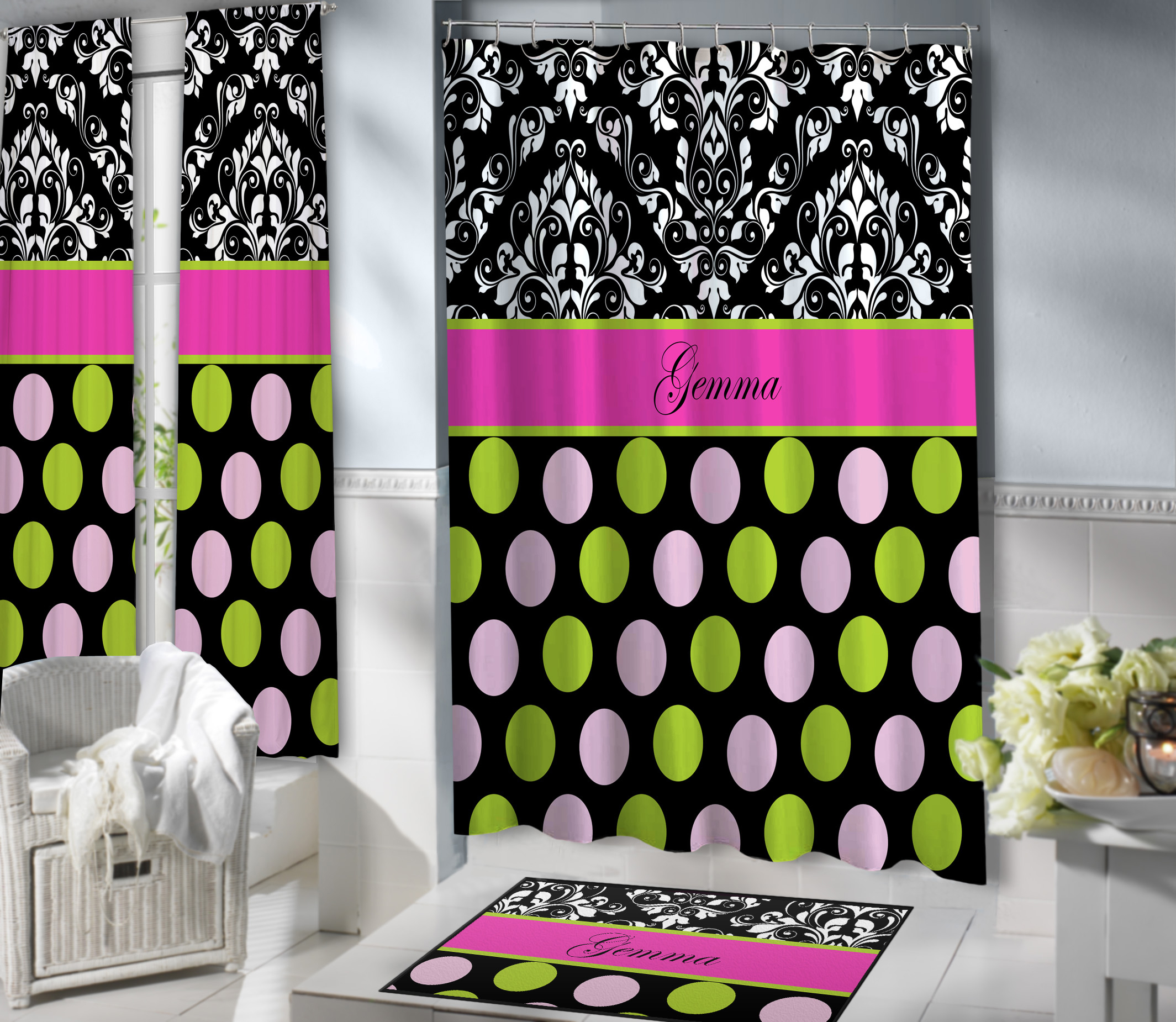 Pink Black Shower Curtain With Polka Dots 157