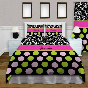 #157 Pink and Black Polka Dot Comforter