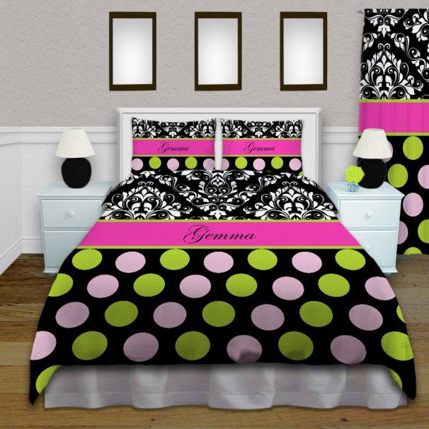 #157 Pink and Black Polka Dot Comforter