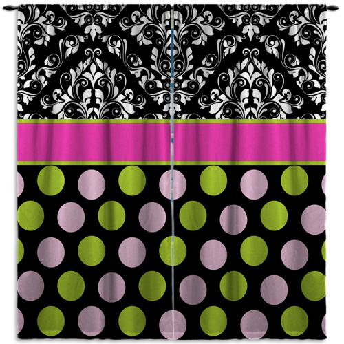 #157 Pink and Black Window Curtain Panels with Polka Dots
