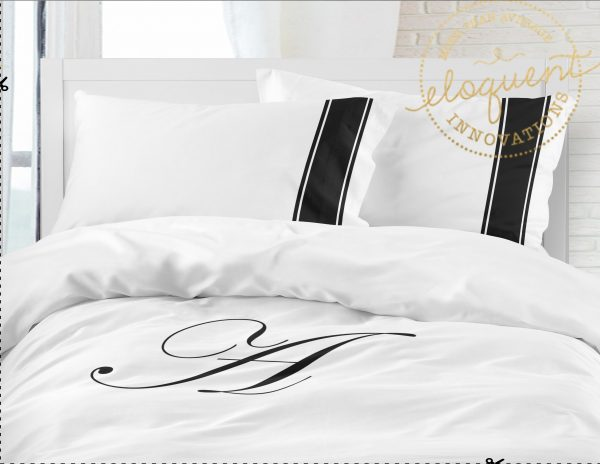 #174 black and white monogrammed bedding