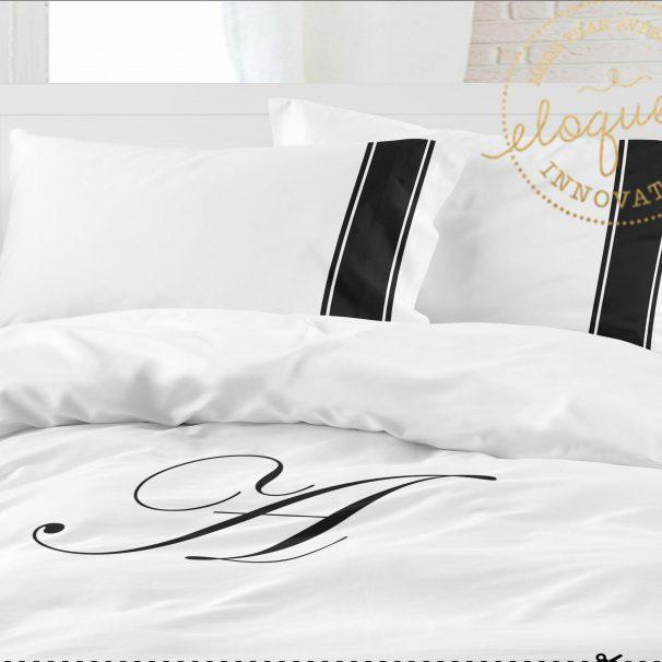 #174 black and white monogrammed bedding