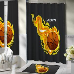 #204 Basketball Bathroom Shower Curtain