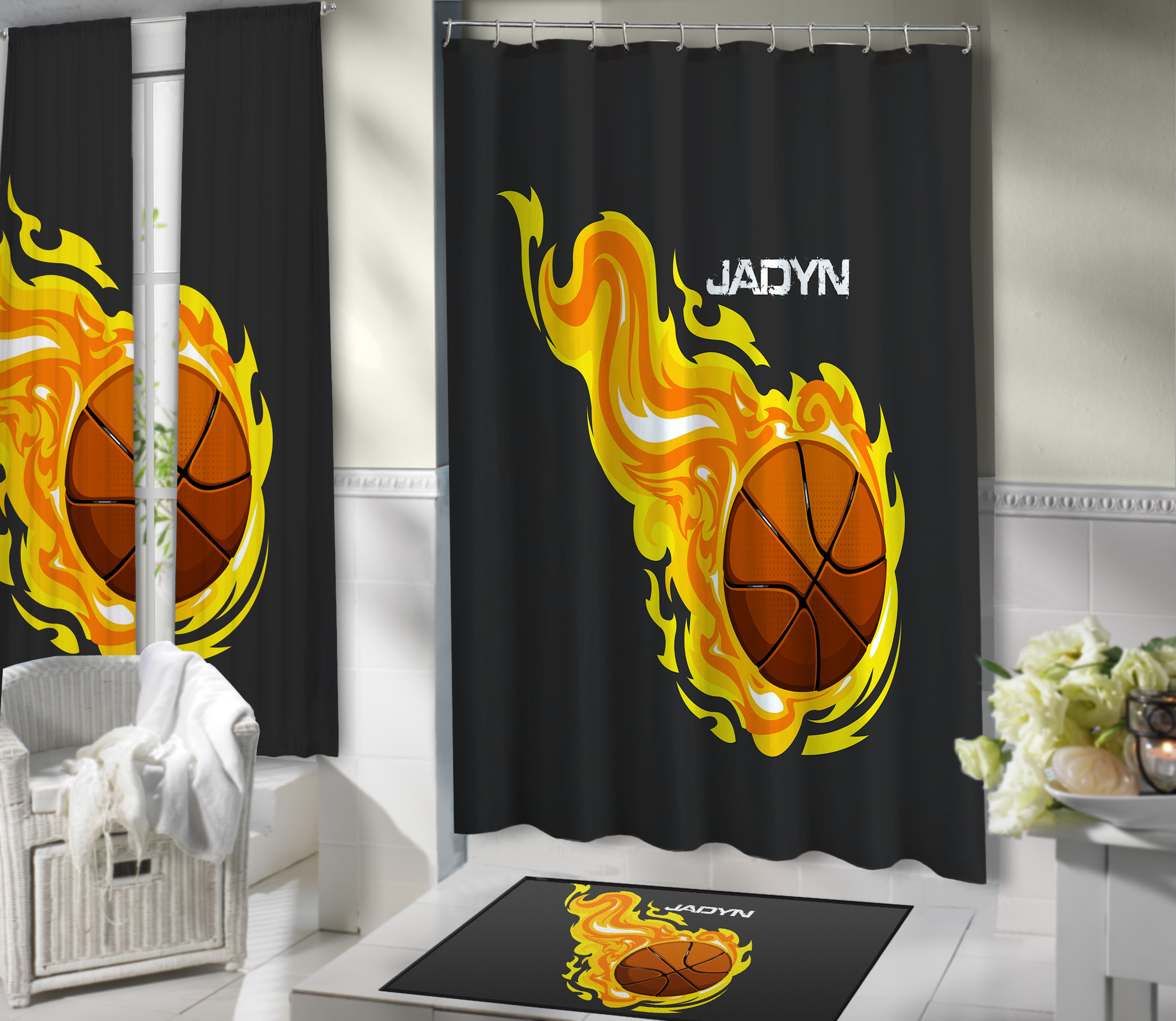 #204 Basketball Bathroom Shower Curtain