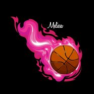 #205 Basketball Pink Flames