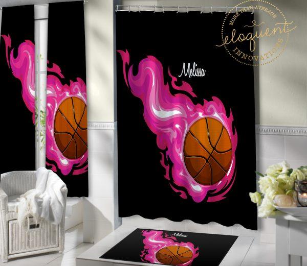 #205_Basketball_Bathroom Shower curtain