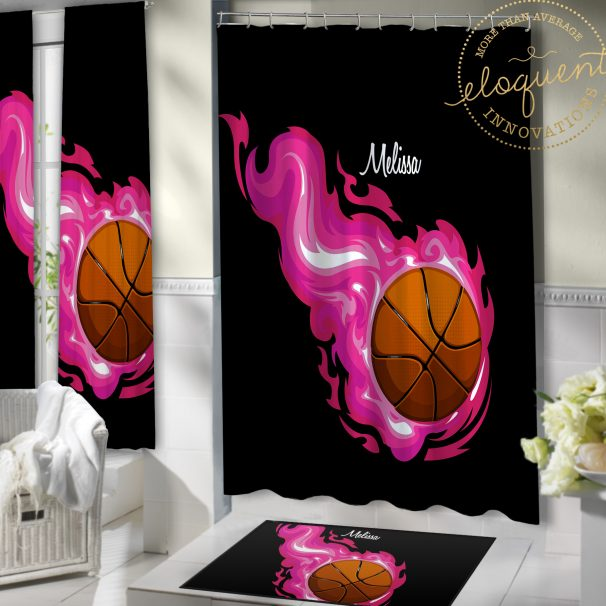 #205_Basketball_Bathroom Shower curtain