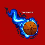 #209 Basketball with Blue Flames