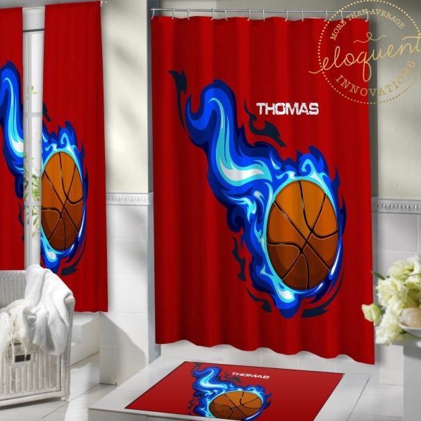 #209 Red Basketball Shower Curtain with Blue Flames