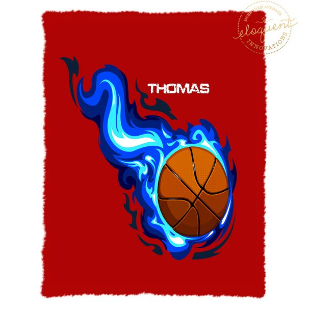 #209 Basketball Blanket with Blue Flames