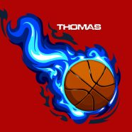 #209 Basketball Pillowcase with blue flames