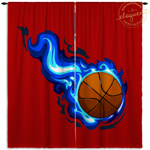 #209 Red Basketball Window Curtains with Blue Flames