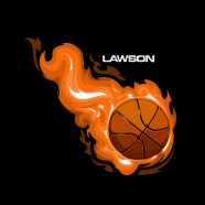 #211 Personalized Black Basketball Bedding with Orange Flames