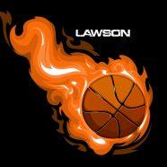 #211 Black Basketball Pillowcase with Orange Flames