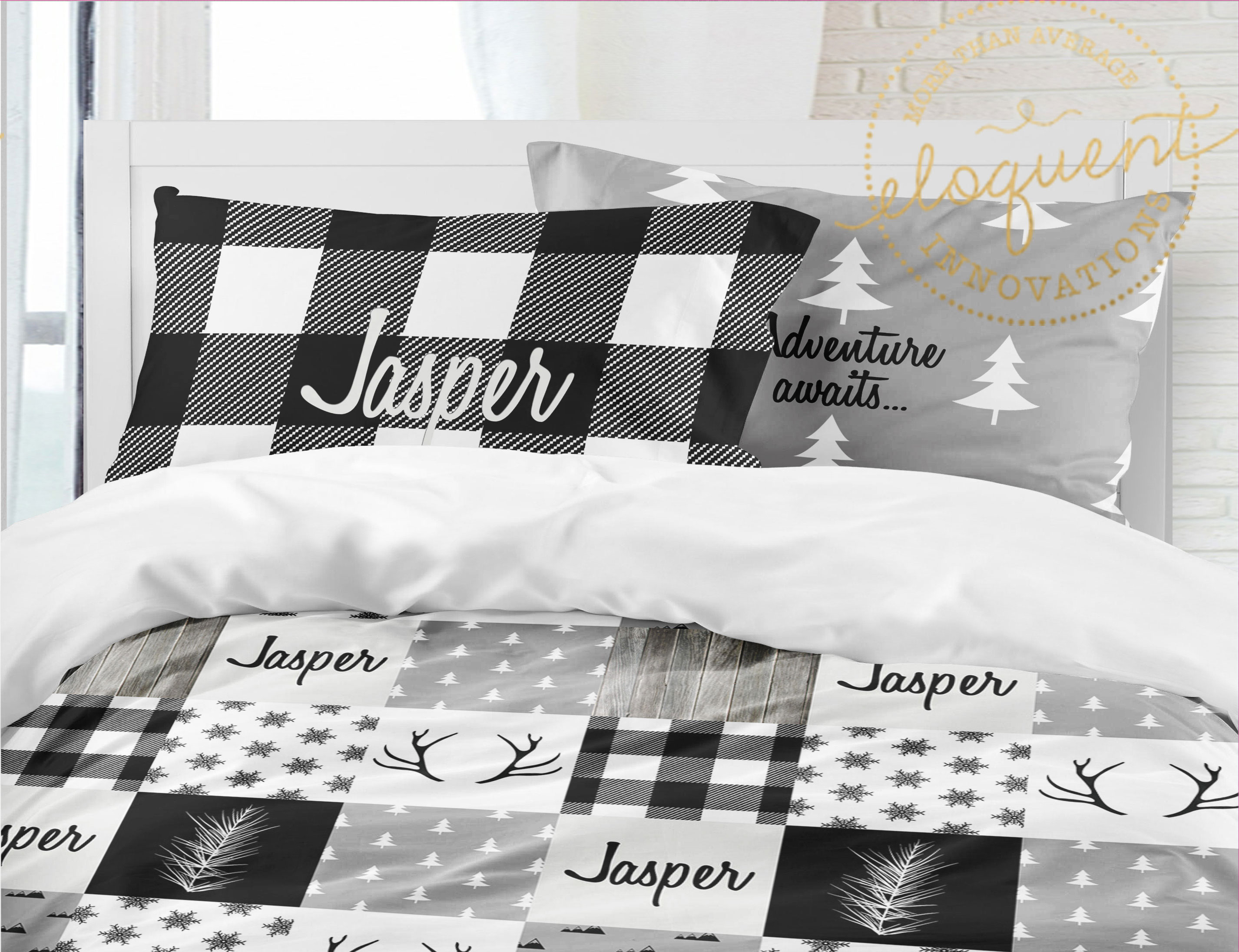 Christmas Comforter.Plaid Woodland Bedding Christmas Bedding Sets For Kids Personalized Comforter Or Duvet Cover 413