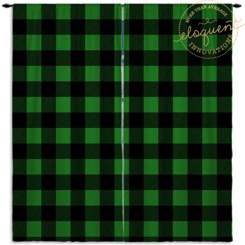 green plaid curtain