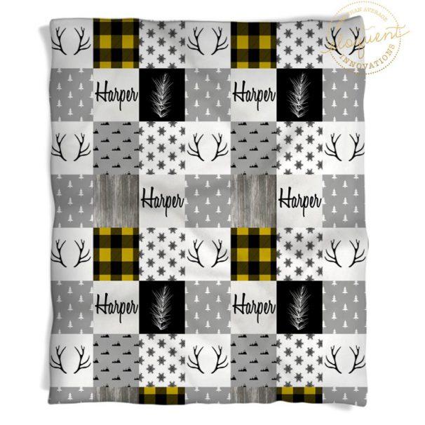 yellow plaid blanket