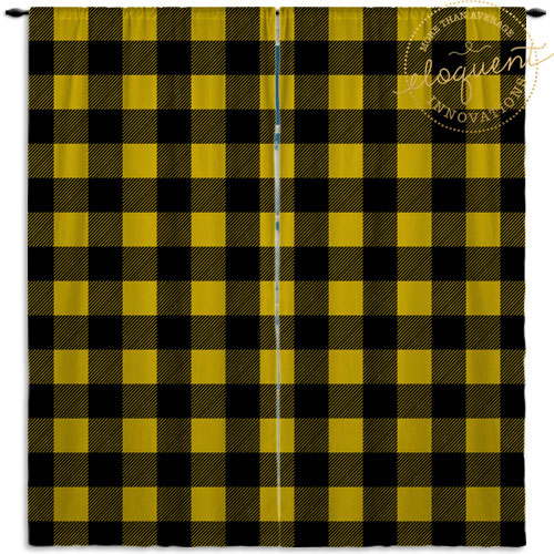 yellow plaid curtains