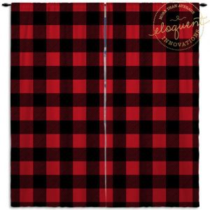 red plaid curtain