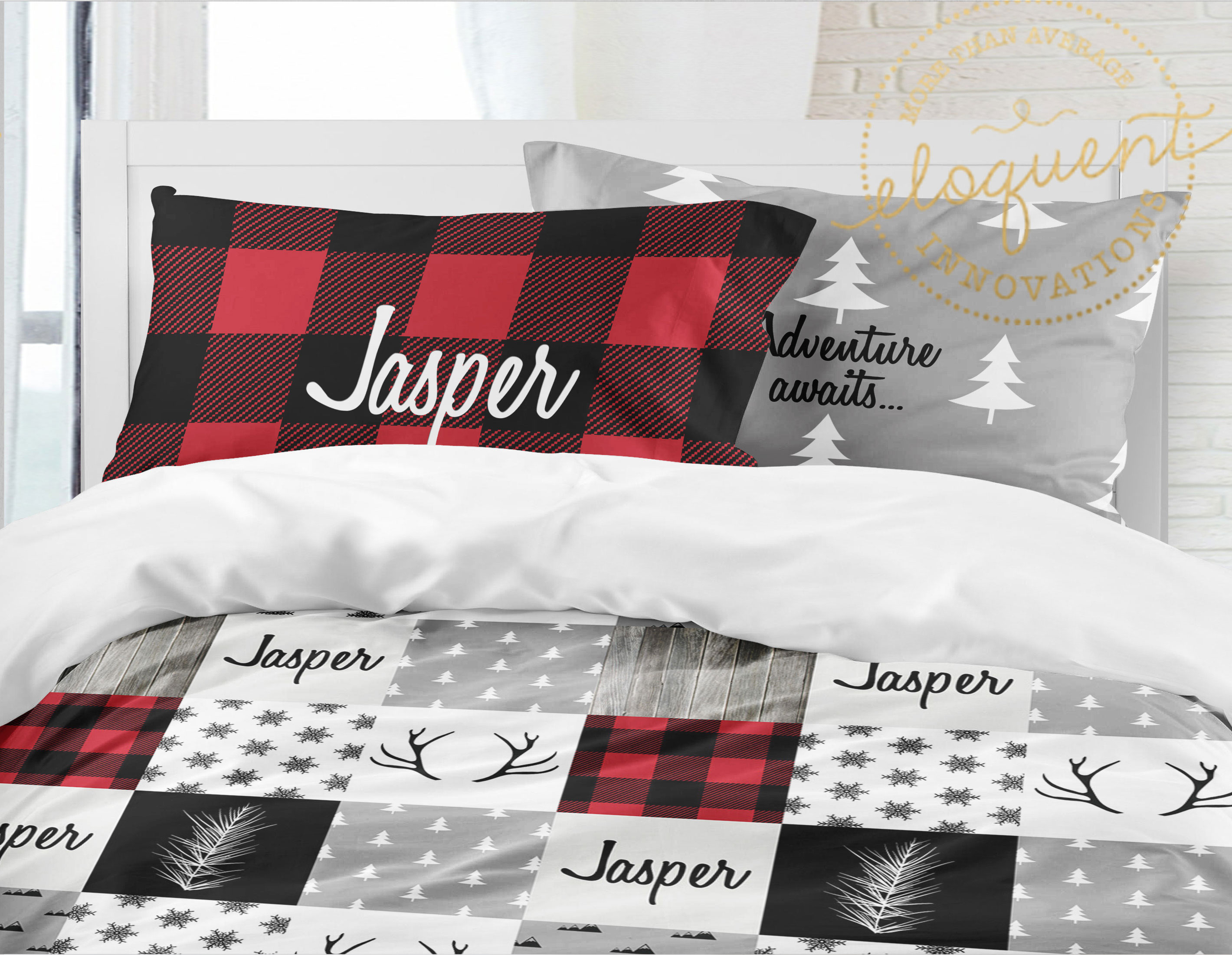 Christmas Comforter.Christmas Bedding Sets For Kids Plaid Woodland Bedding Red Personalized Comforter Or Duvet Cover 416