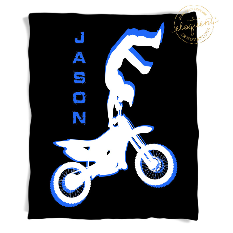 dirt bike blanket with black background