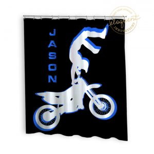 Blue Motocross Dirt Bike Shower Curtain