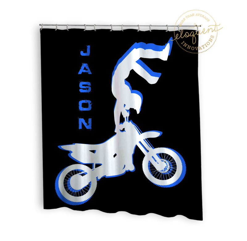 Blue Motocross Dirt Bike Shower Curtain