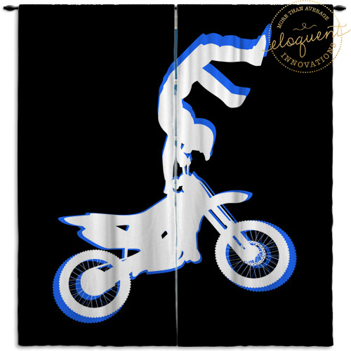 Blue Motocross Window Curtains